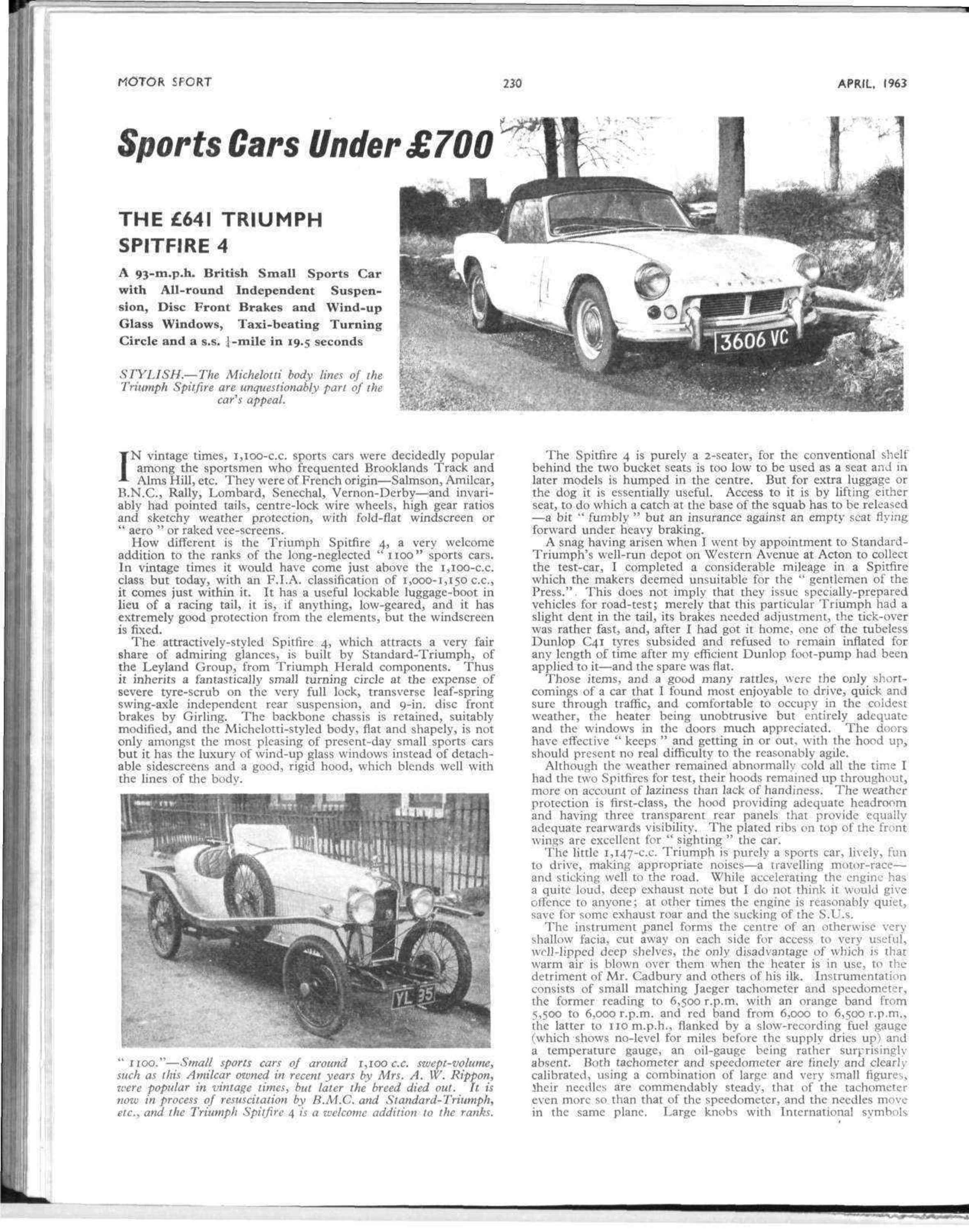 Sports Cars Under 700 The 641 Triumph Spitfire 4 Motor Sport