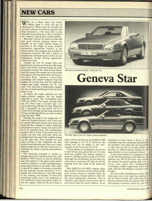 New Cars Mercedes Sl Motor Sport Magazine Archive 1991 500sl Benz Timing Belt