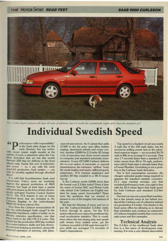 The Motor Sport Road Test Saab 9000 Carlsson Wiring 1991 Magazine Archive