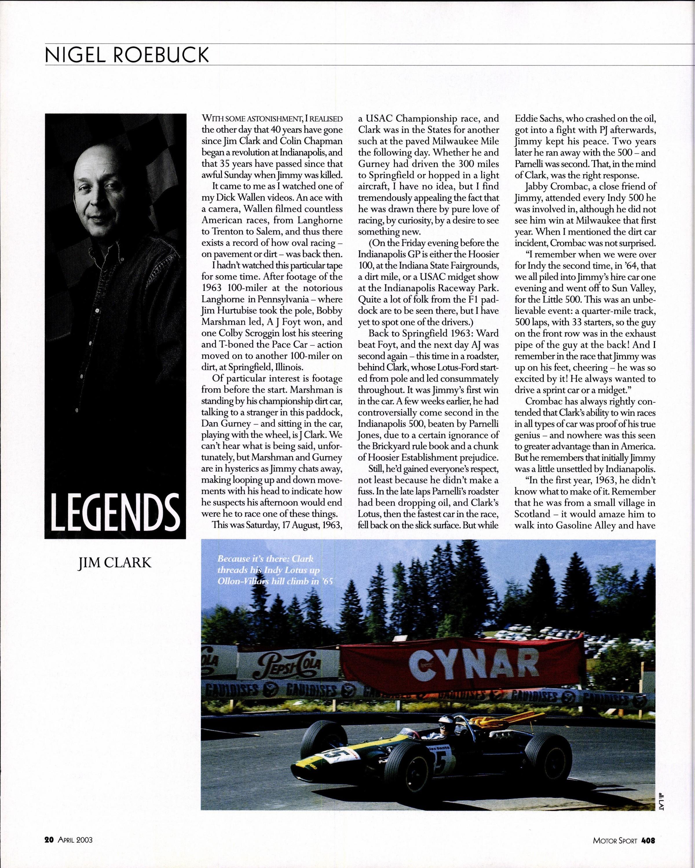 Legends - Jim Clark   Motor Sport Magazine Archive