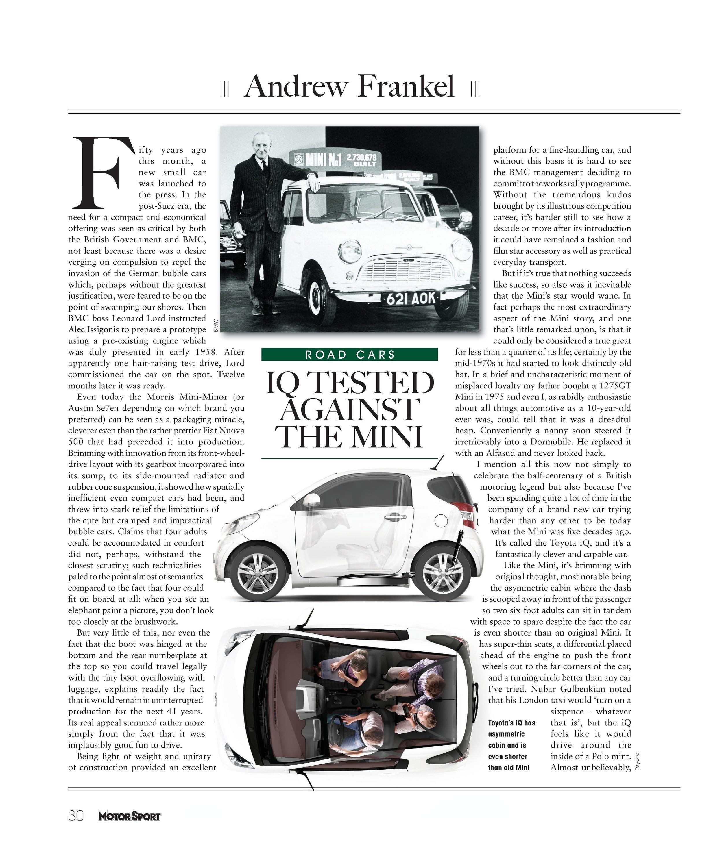 453aa842 iQ tested against the Mini | Motor Sport Magazine Archive