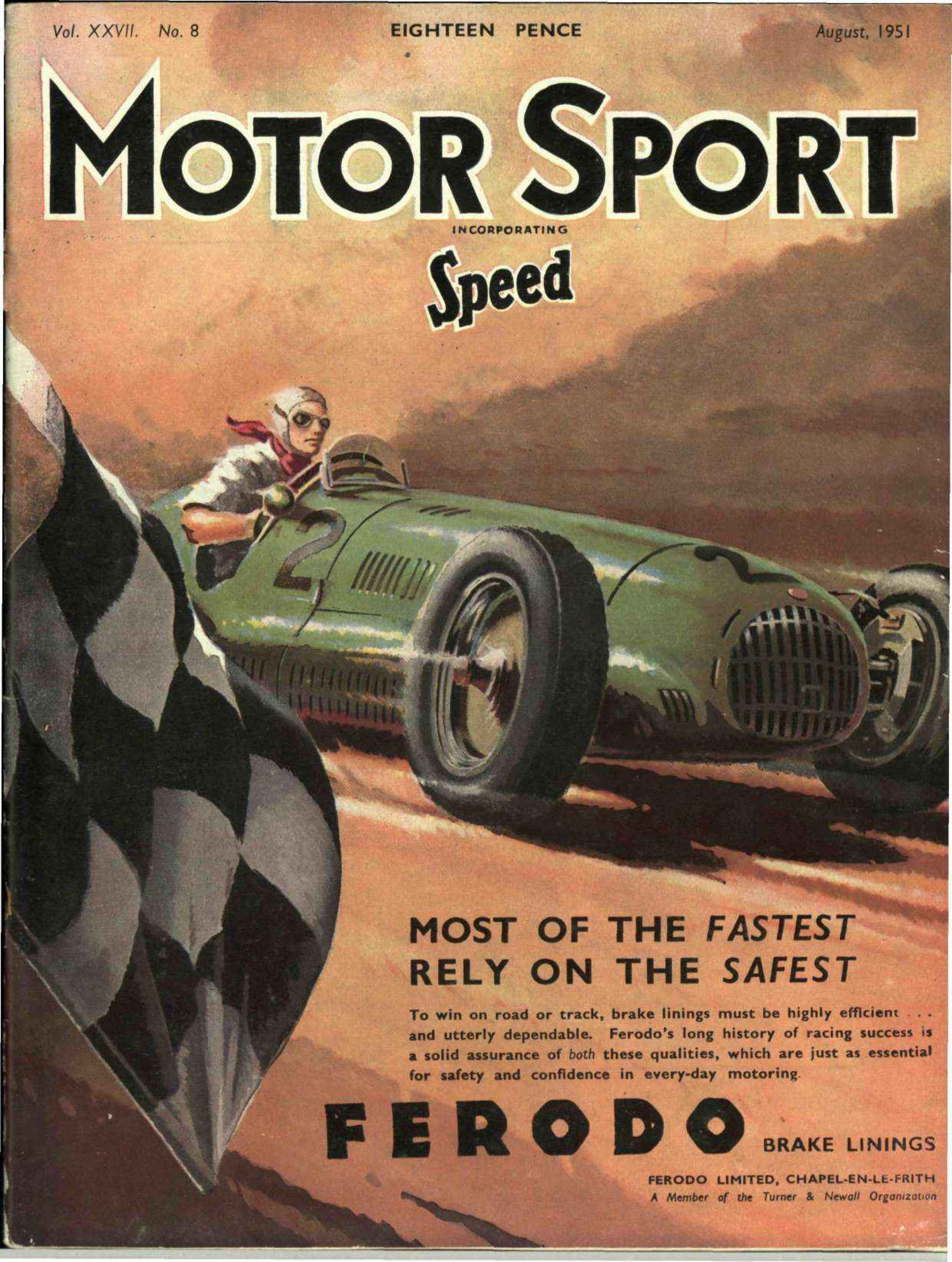 MOTOR MAGAZINE August 1953 Great Vintage Cover Art Ads