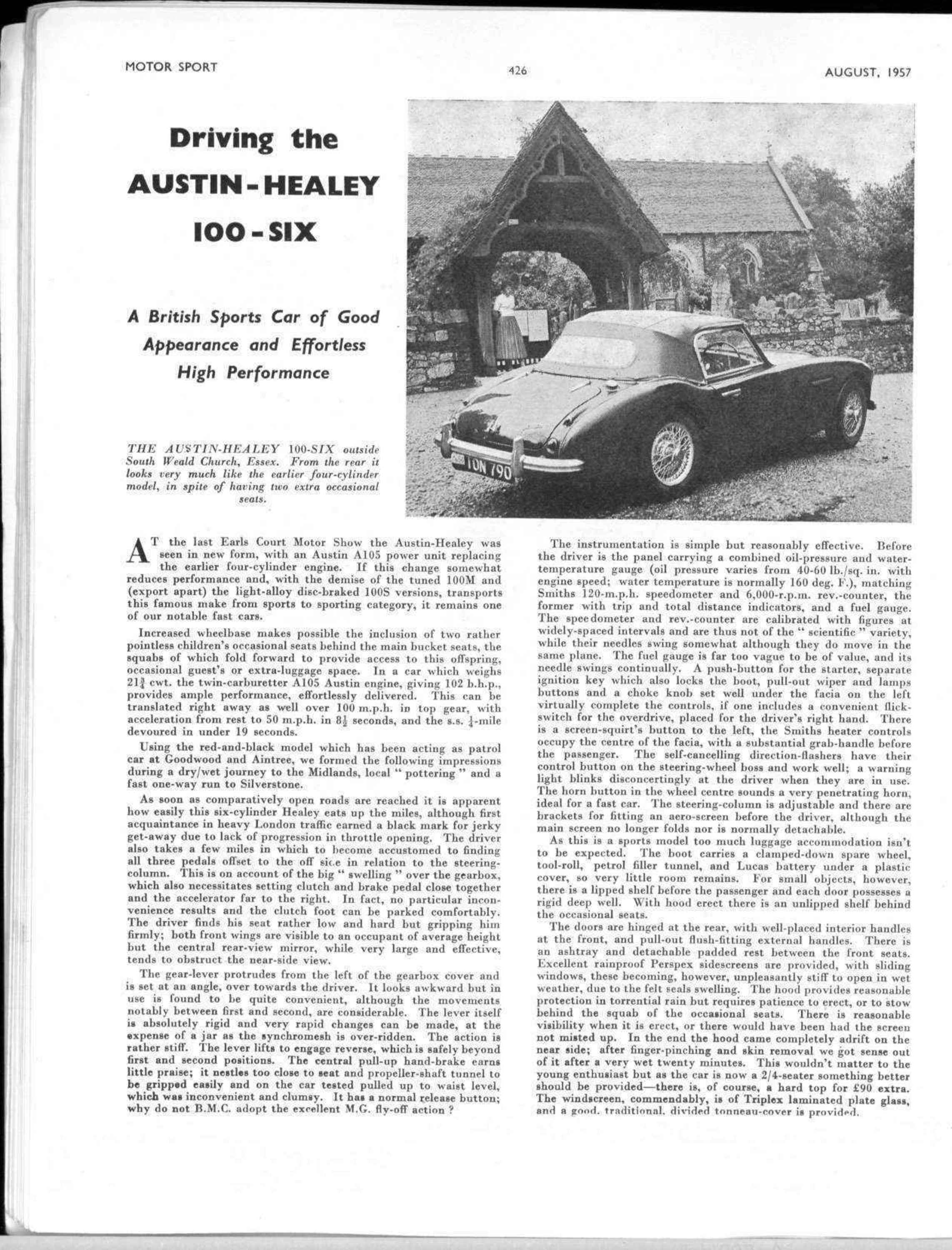 Driving the Austin Healey 100 Six