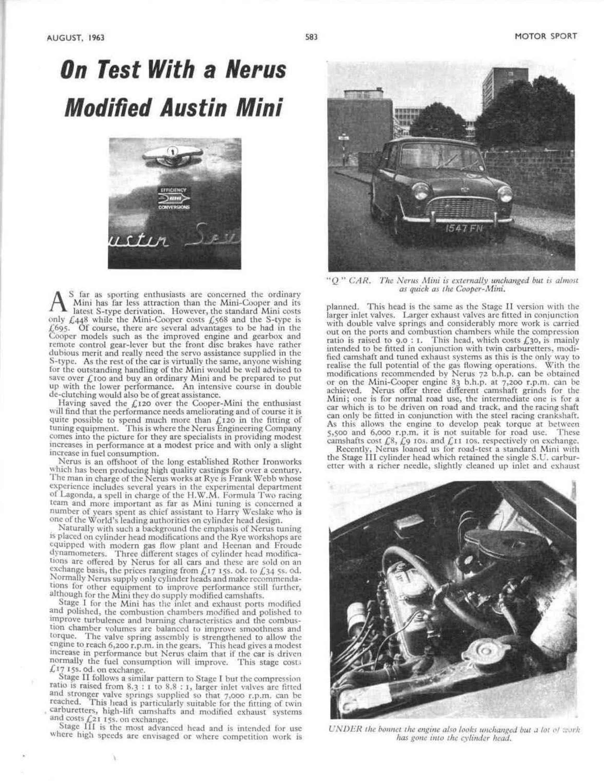 test with a Nerus modified Austin Mini