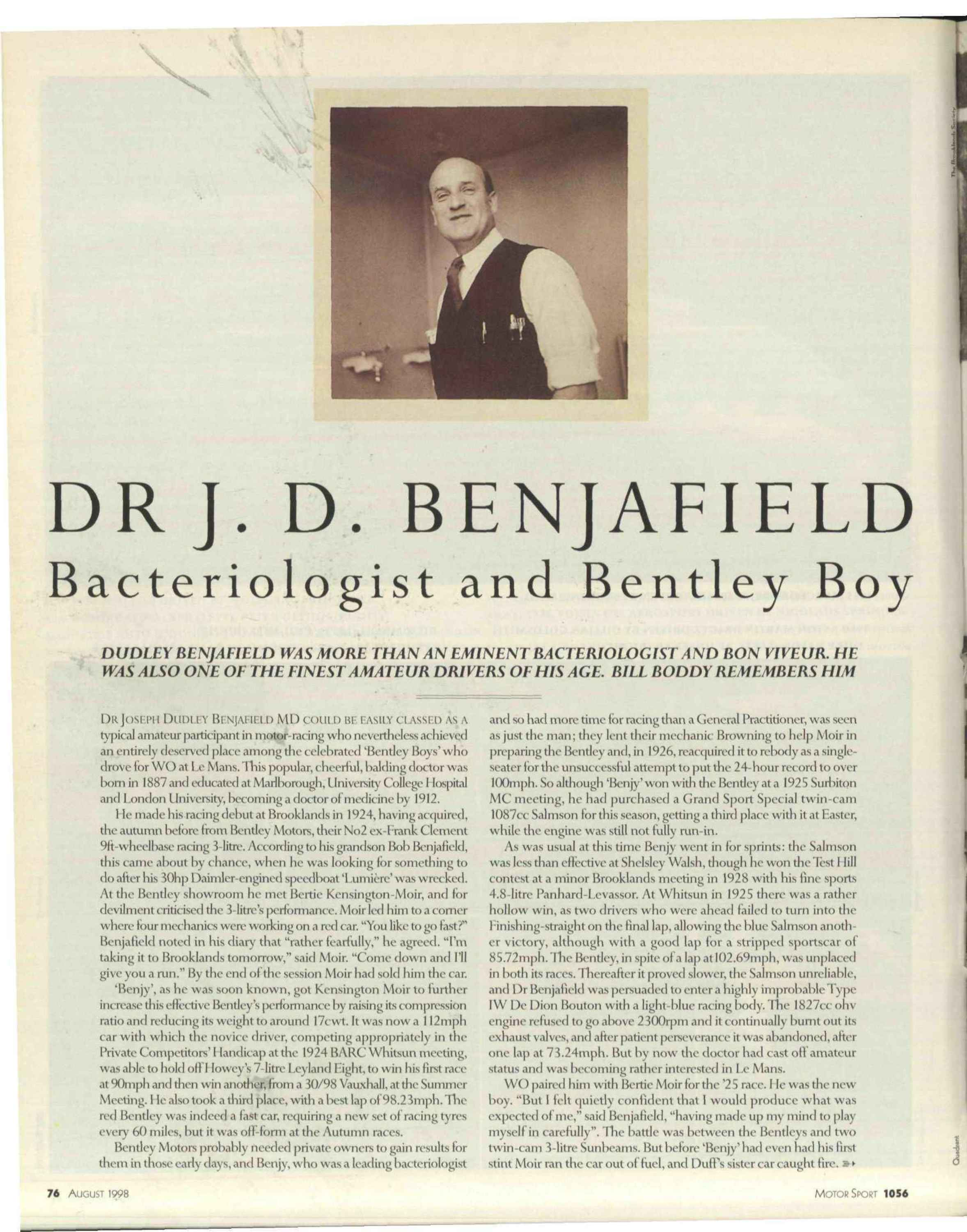 Dr J.D. Benjafield   Bacteriologist and Bentley Boy image