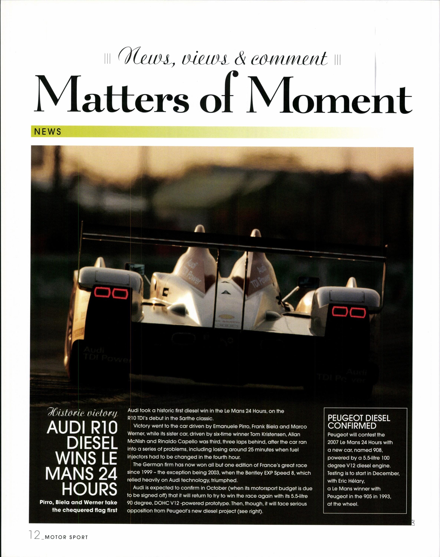 Audi R Diesel Wins Le Mans Hours Motor Sport Magazine Archive - Tom williams audi