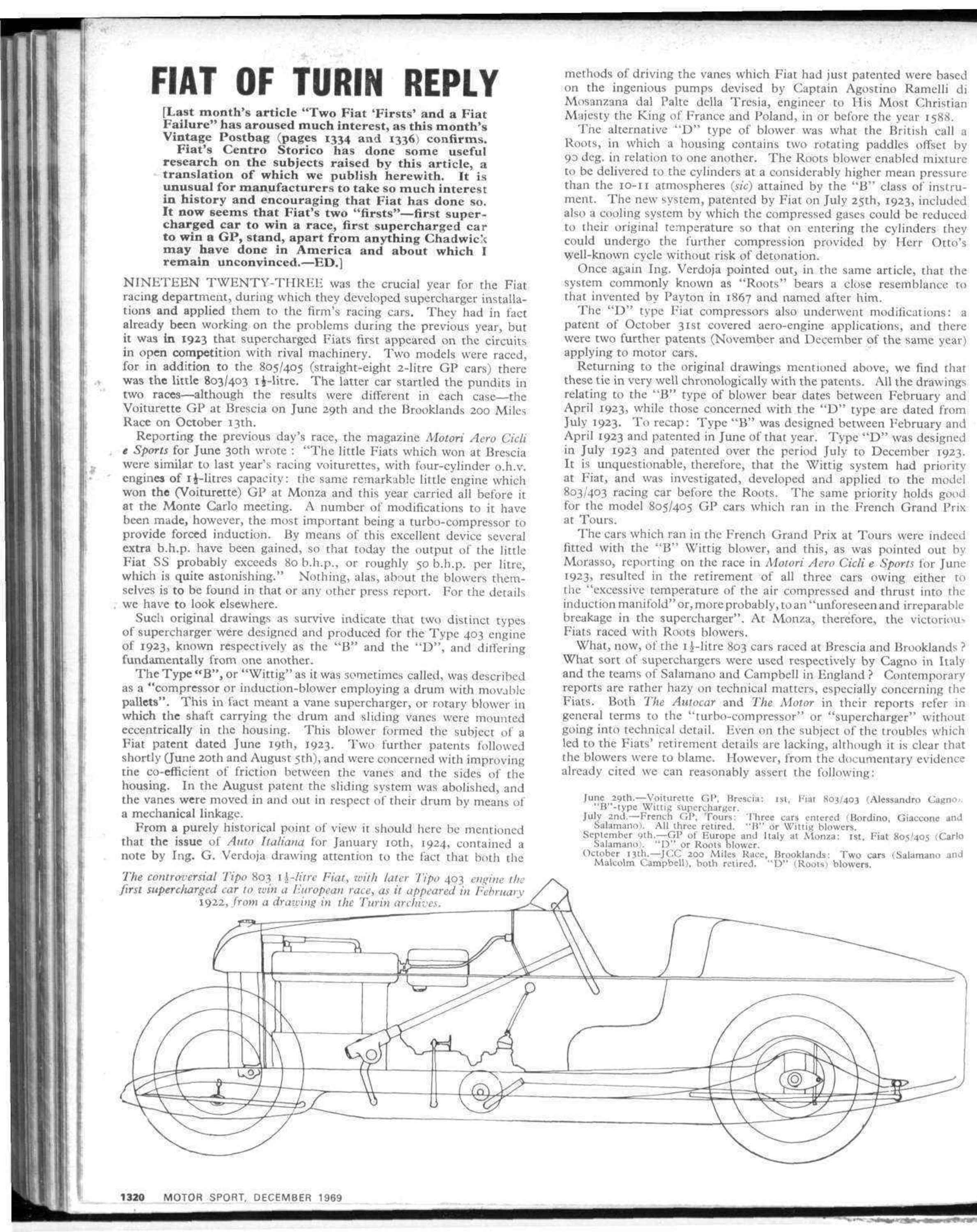 Fiat of Turin Reply | Motor Sport Magazine Archive