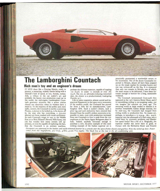 The Lamborghini Countach Motor Sport Magazine Archive