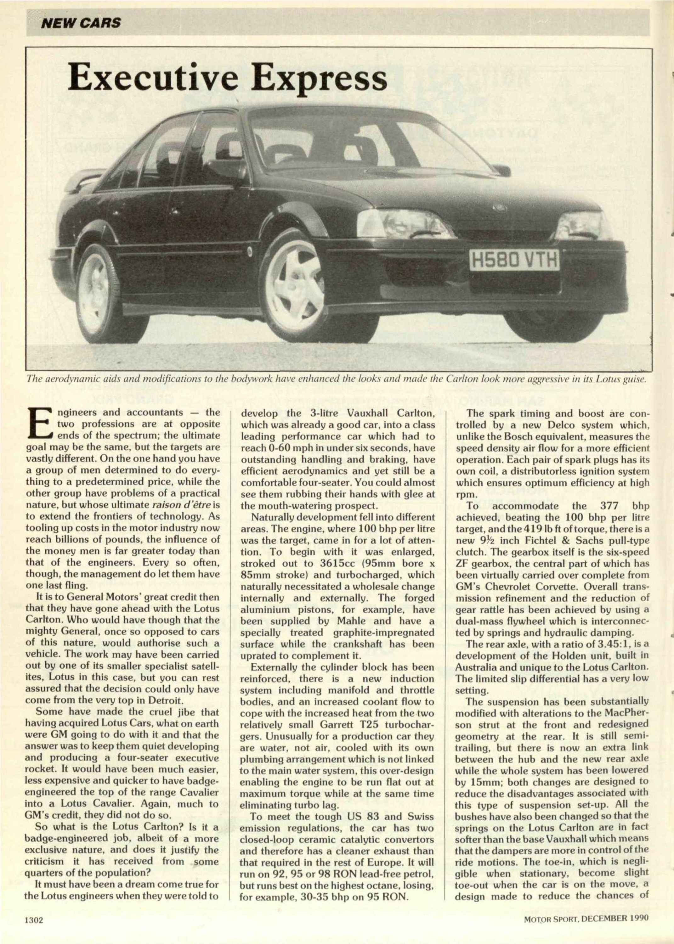 New Cars - Vauxhall Lotus Carlton | Motor Sport Magazine Archive