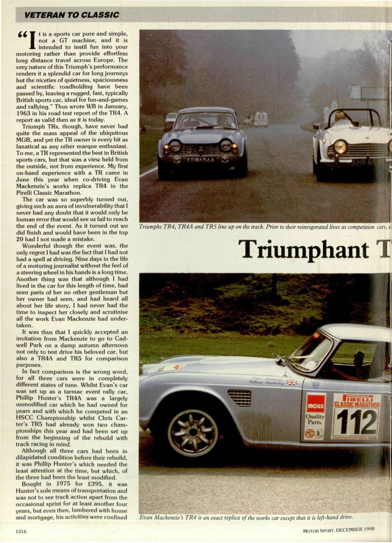 Veteran to Classic - Triumph TR | Motor Sport Magazine Archive