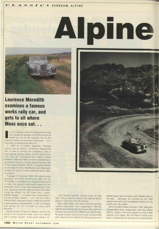 Alpine Special Motor Sport Magazine Archive