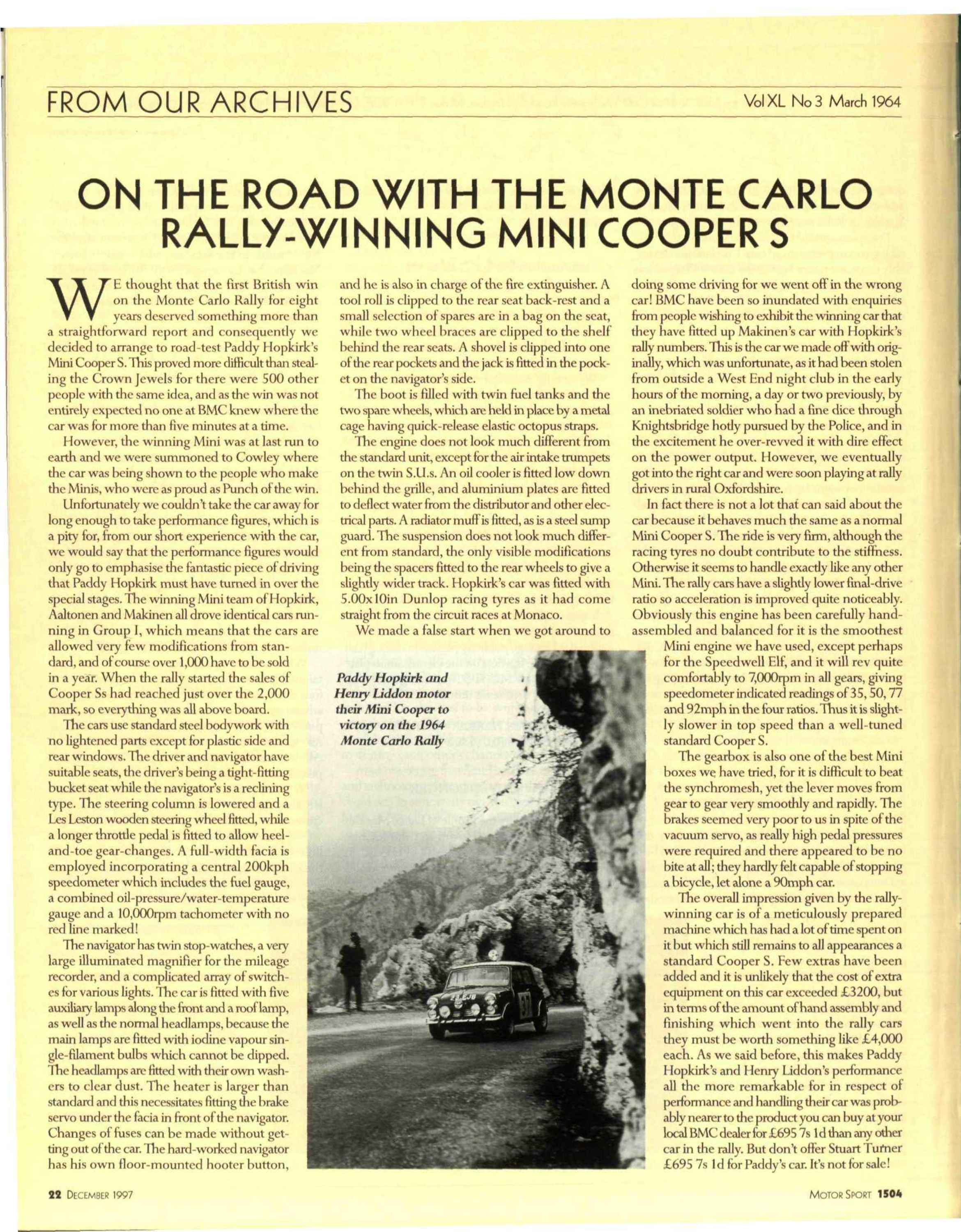 From our Archives   On the road with the Monte Carlo rally winning Mini Coopers image
