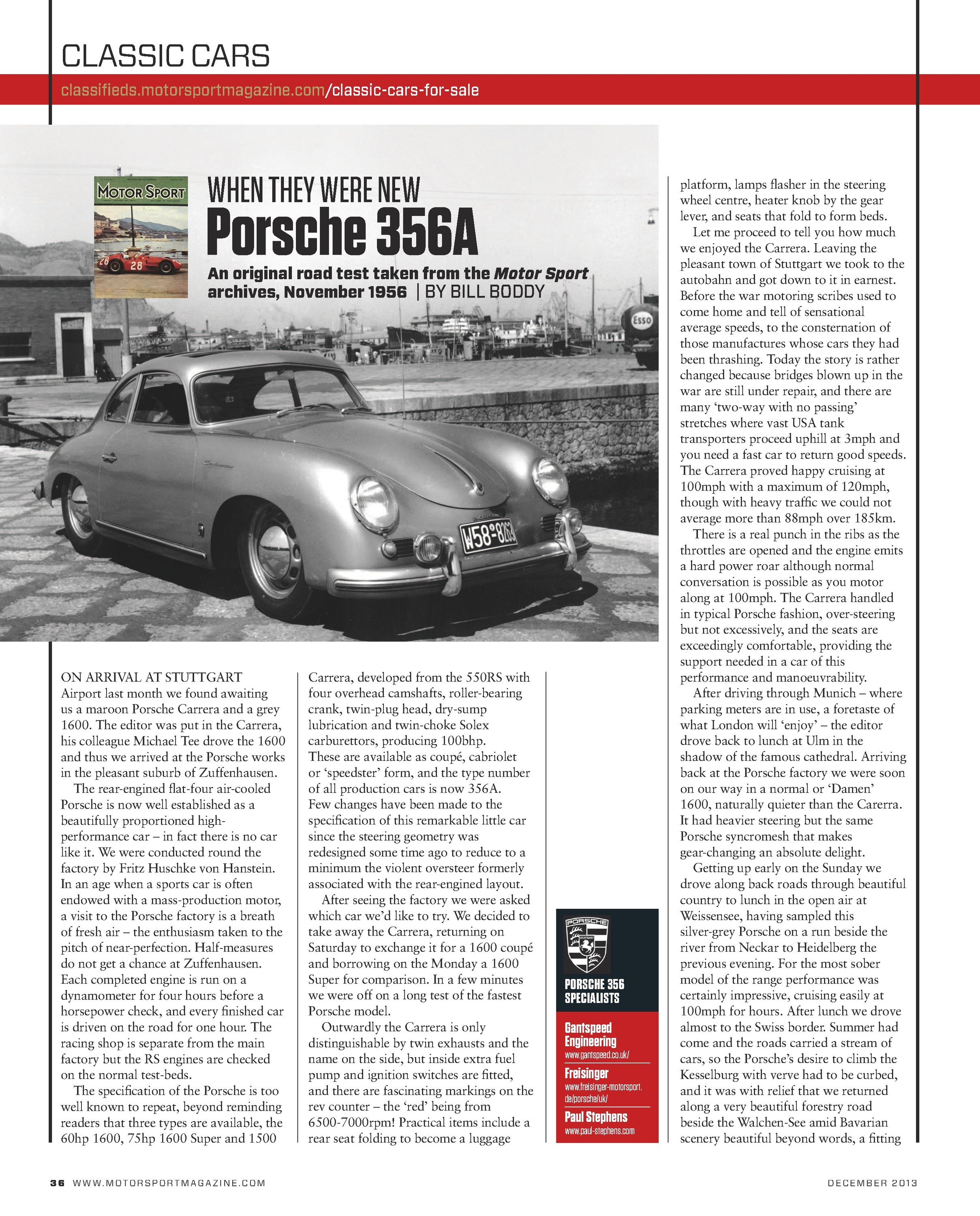 When They Were New Porsche 356a Motor Sport Magazine