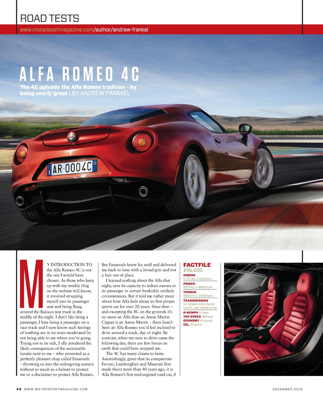 Alfa Romeo 4c Motor Sport Magazine Archive Transmission