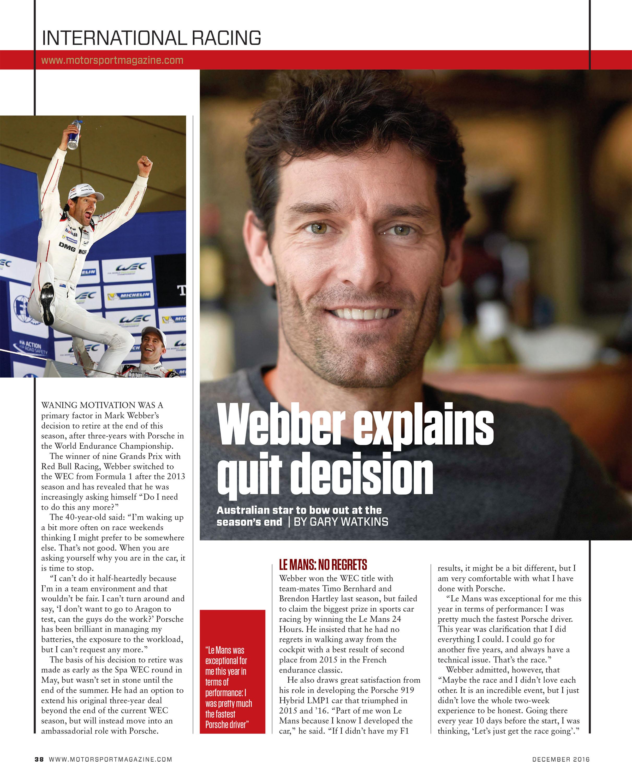 Webber explains quit decision image