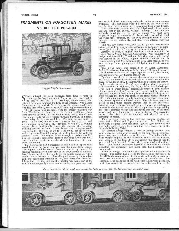 Fragments on Forgotten Makes No. 18 : The Pilgrim | Motor Sport ...