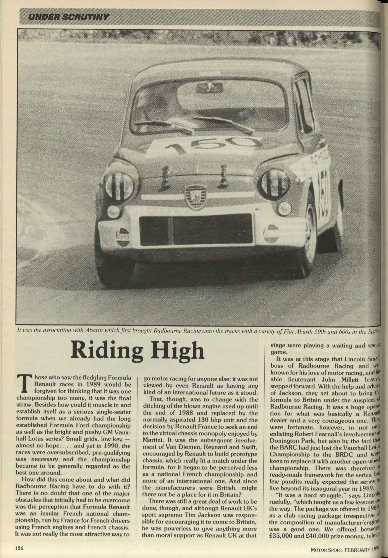 Under Scrutiny - Radbourne Racing | Motor Sport Magazine Archive
