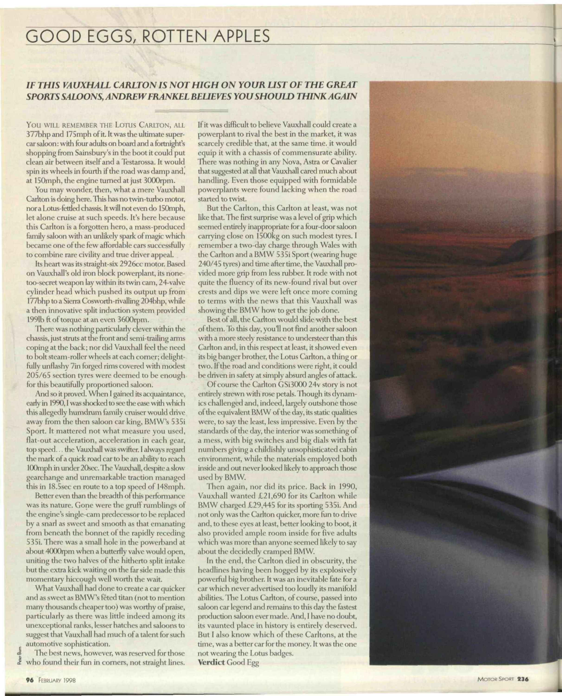 Vauxhall Carlton GSi 3000 24V | Motor Sport Magazine Archive