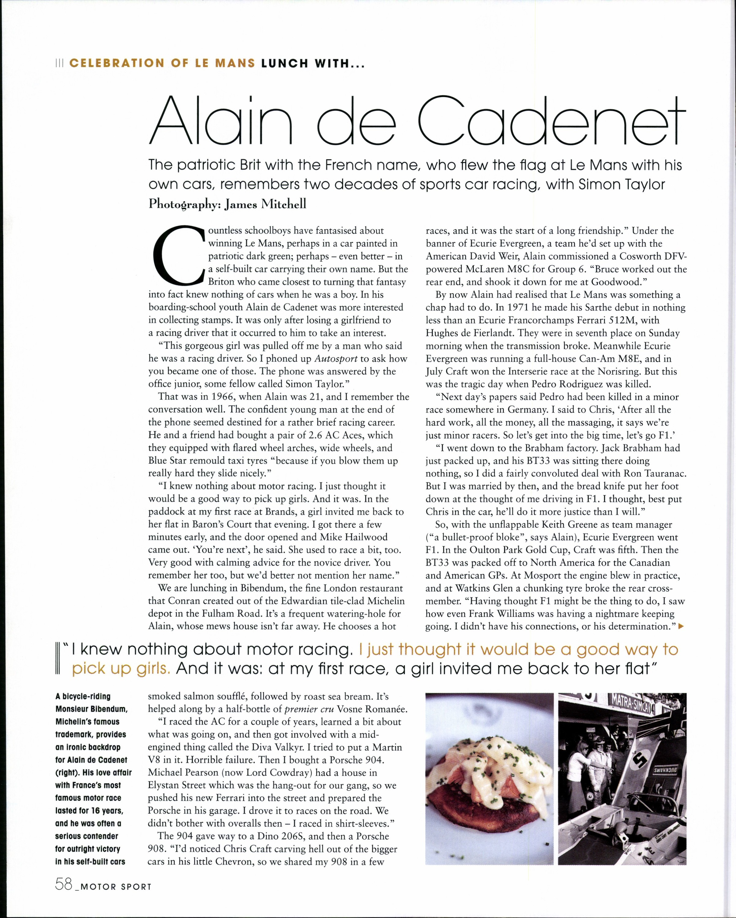Lunch with... Alain de Cadenet image