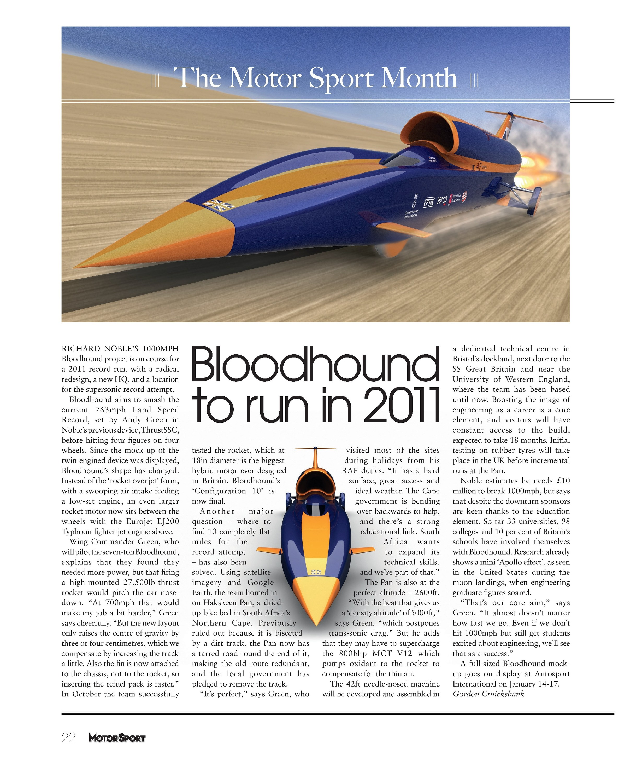 bloodhound to run in 2011 image