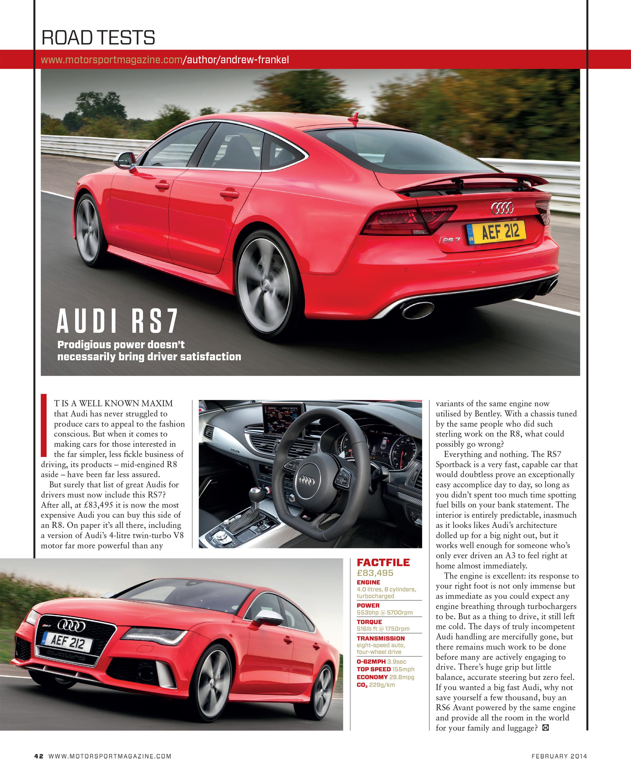 Audi Rs7 Motor Sport Magazine Archive