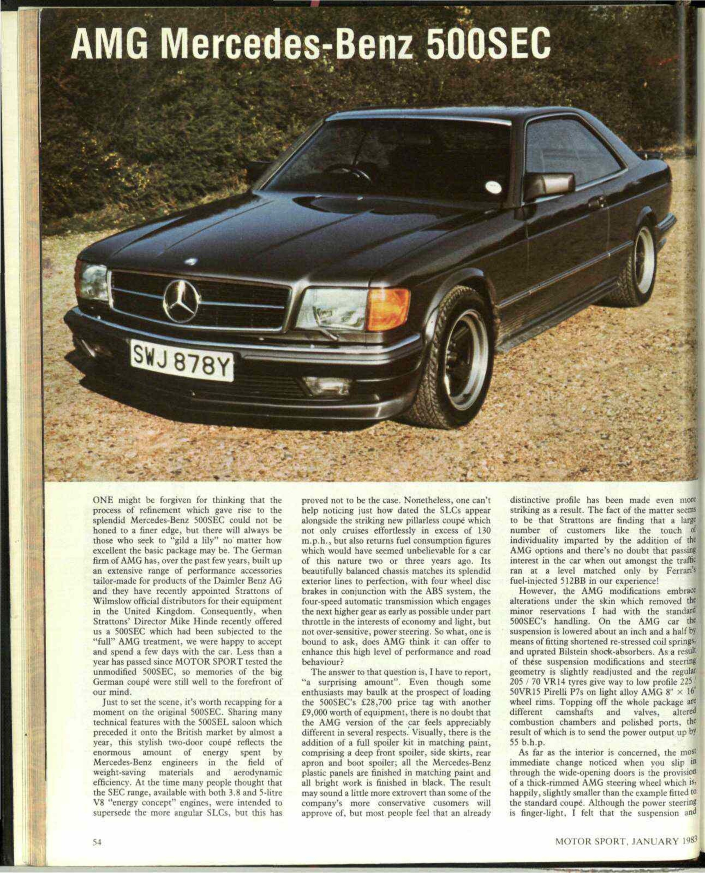 Amg mercedes benz 500sec motor sport magazine archive for Mercedes benz classic magazine