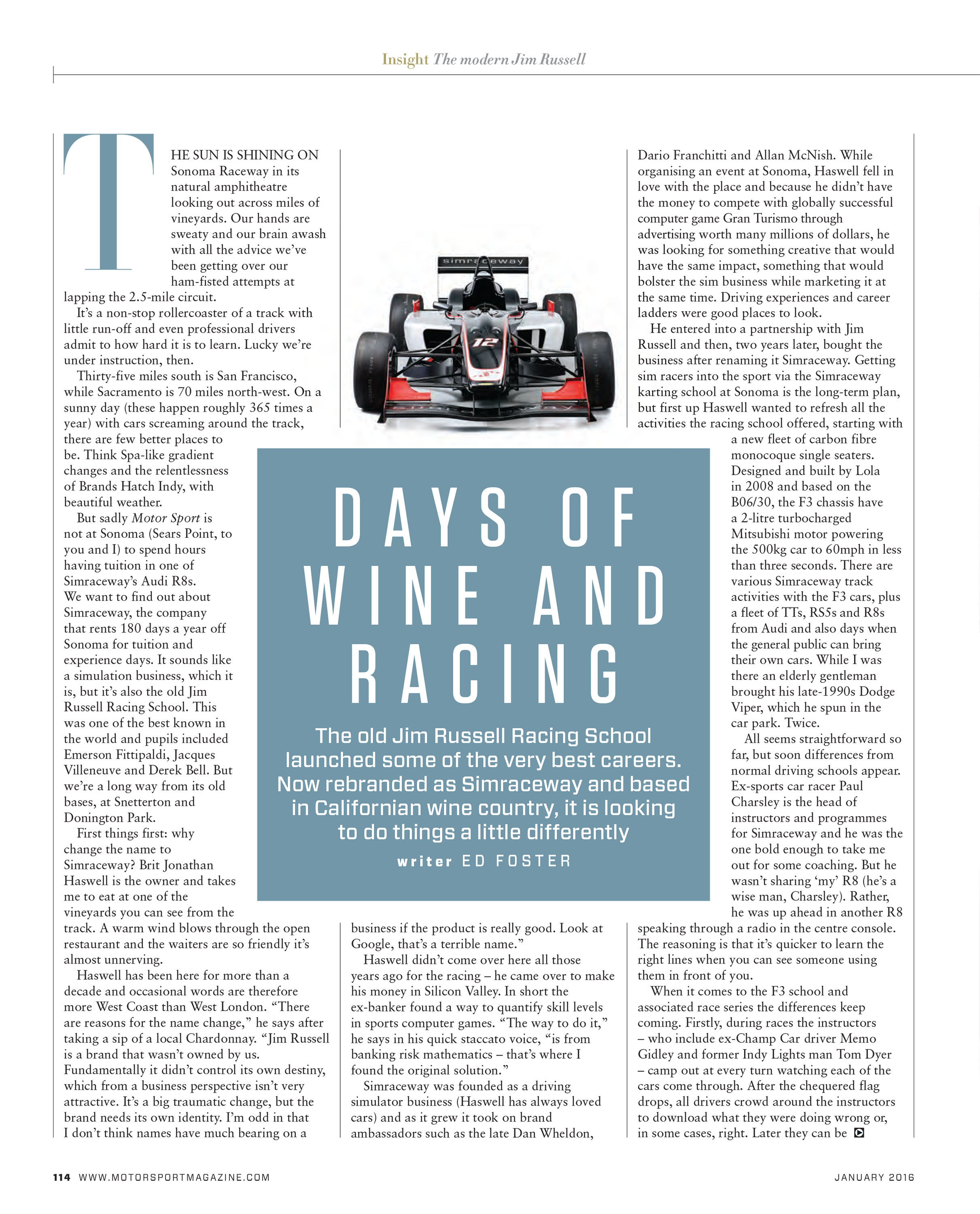 Days of wine and racing image