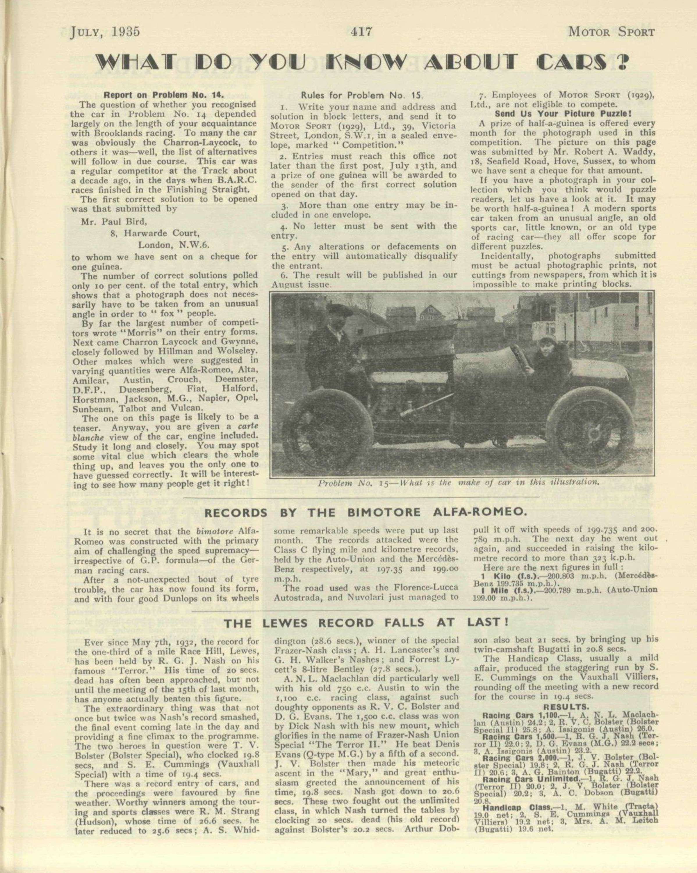 Records By The Bimotore Alfa Romeo Motor Sport Magazine