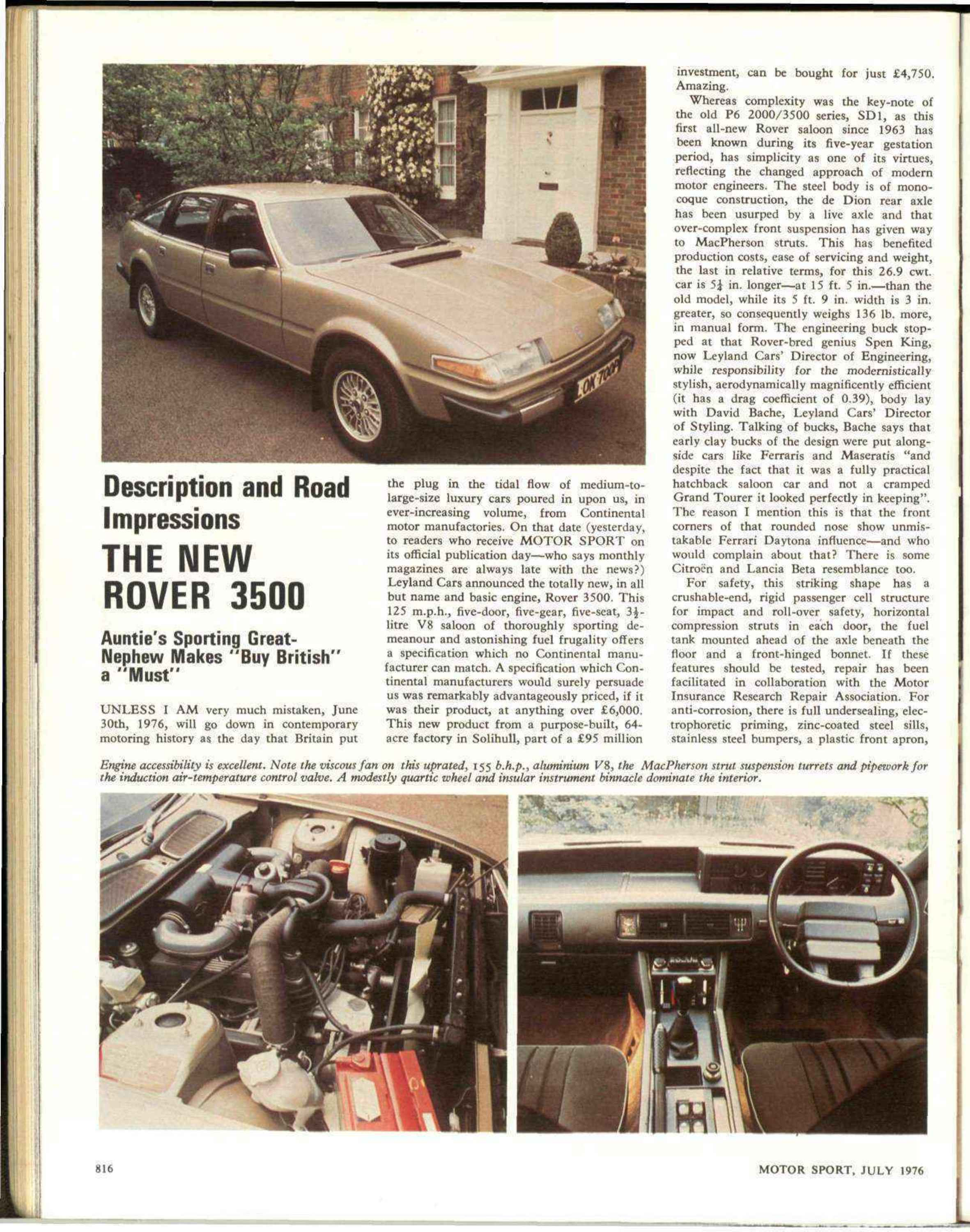 Description And Road Impressions The New Rover 3500 Motor Sport Range Fuse Box Problem Magazine Archive