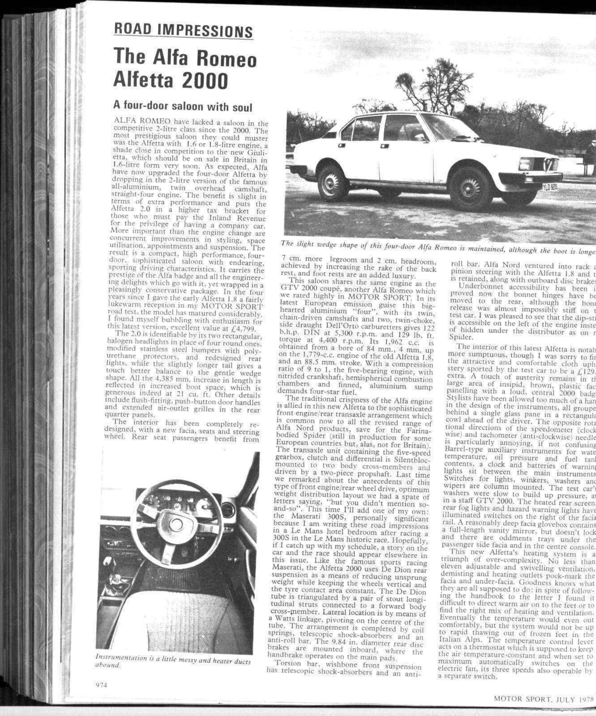 road impressions - the alfa romeo alfetta 2000 | motor sport magazine  archive