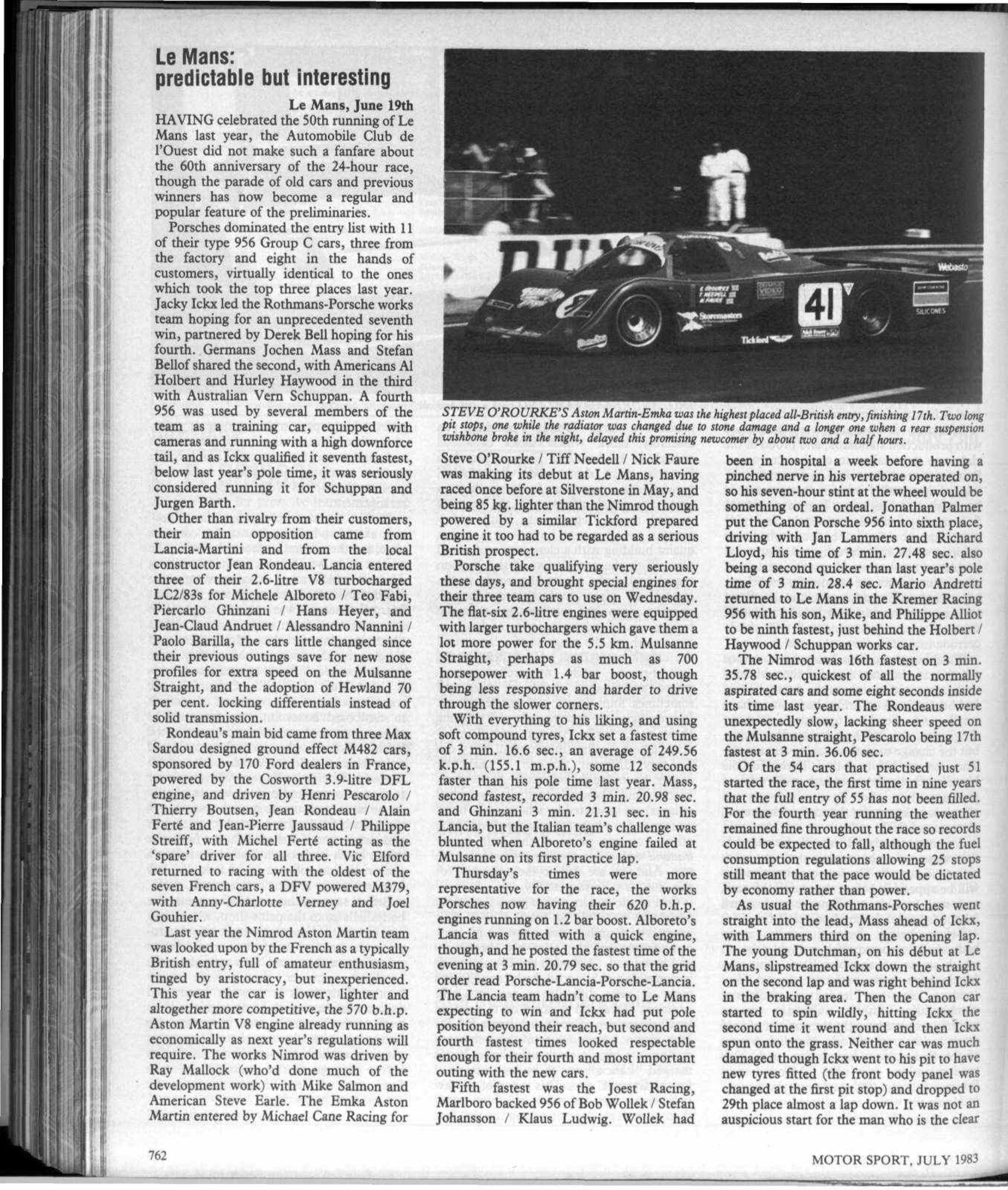 Le Mans 24hrs Motor Sport Magazine Archive 83 Ford 2 3 Timing Marks App