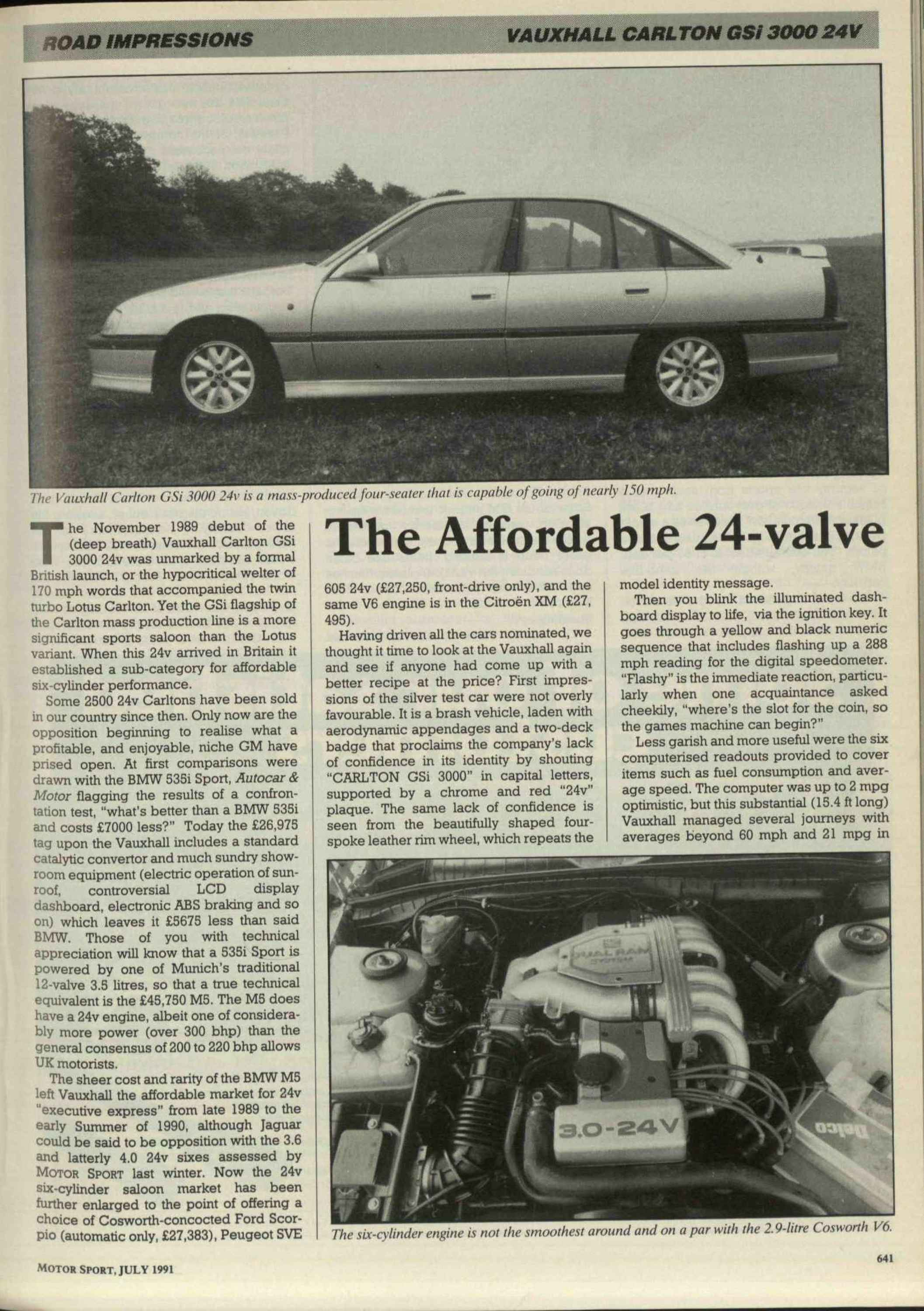 Road Impressions Vauxhall Carlton Gsi 3000 24v Motor Sport Peugeot 605 Injection And Ignition Wiring Diagram Magazine Archive