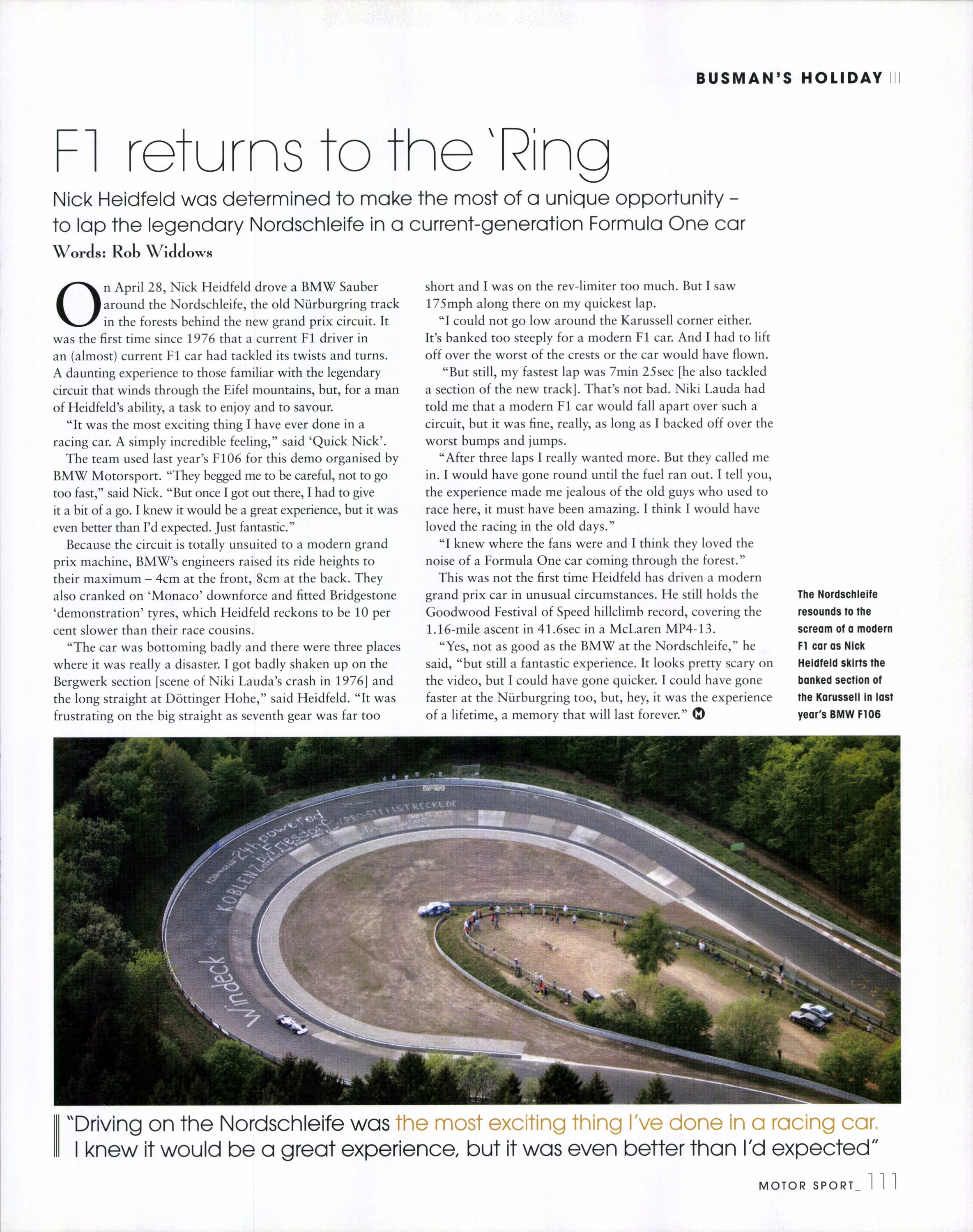 F1 returns to the 'Ring | Motor Sport Magazine Archive