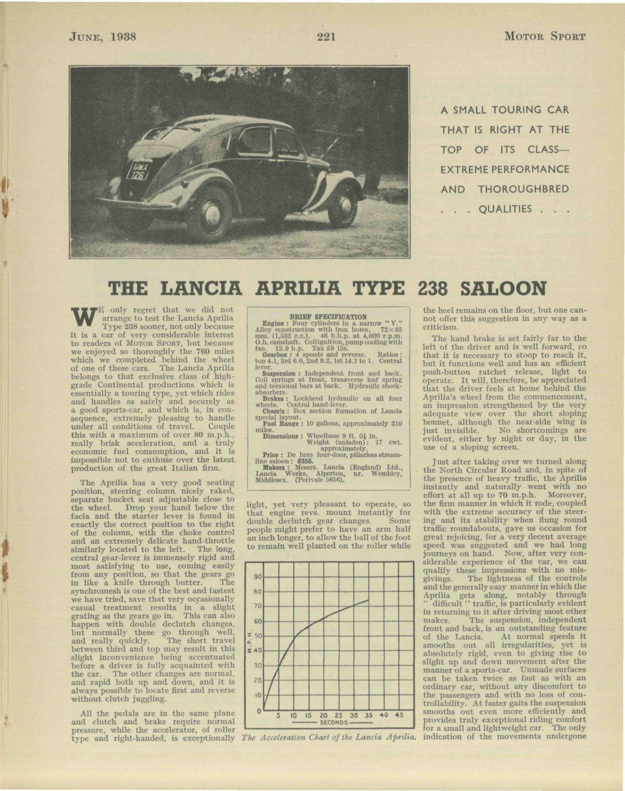 The lancia aprilia type 238 saloon motor sport magazine archive close vanachro Choice Image