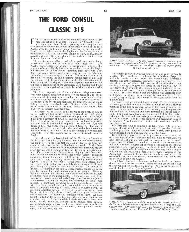 The Ford Consul Classic 315   Motor Sport Magazine Archive