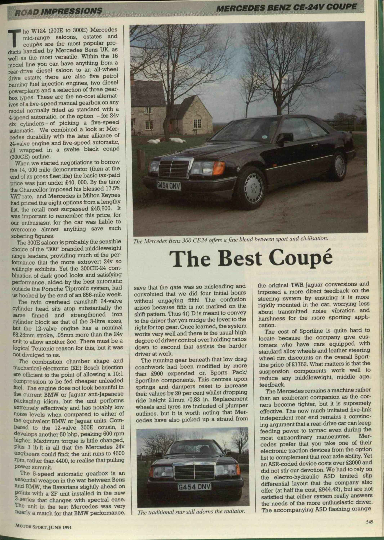 Road Impressions -- Mercedes Benz CE-24V Coupé | Motor Sport