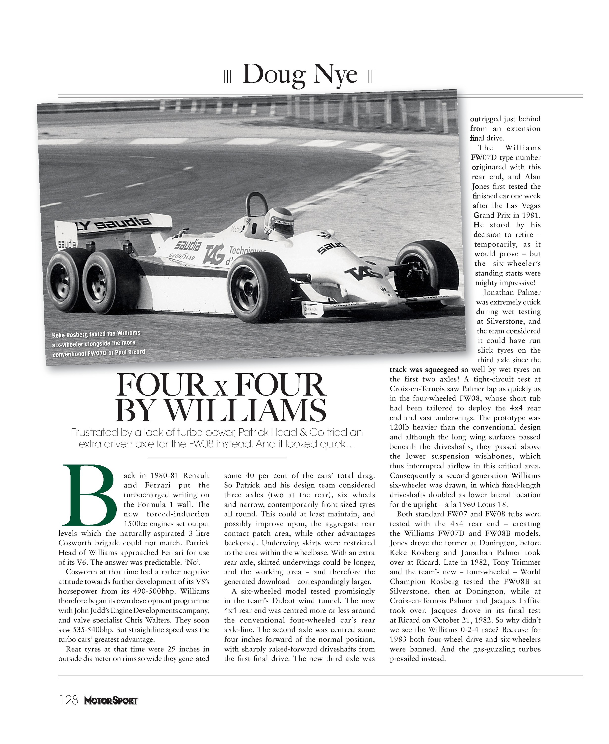 Four x four by Williams | Motor Sport Magazine Archive