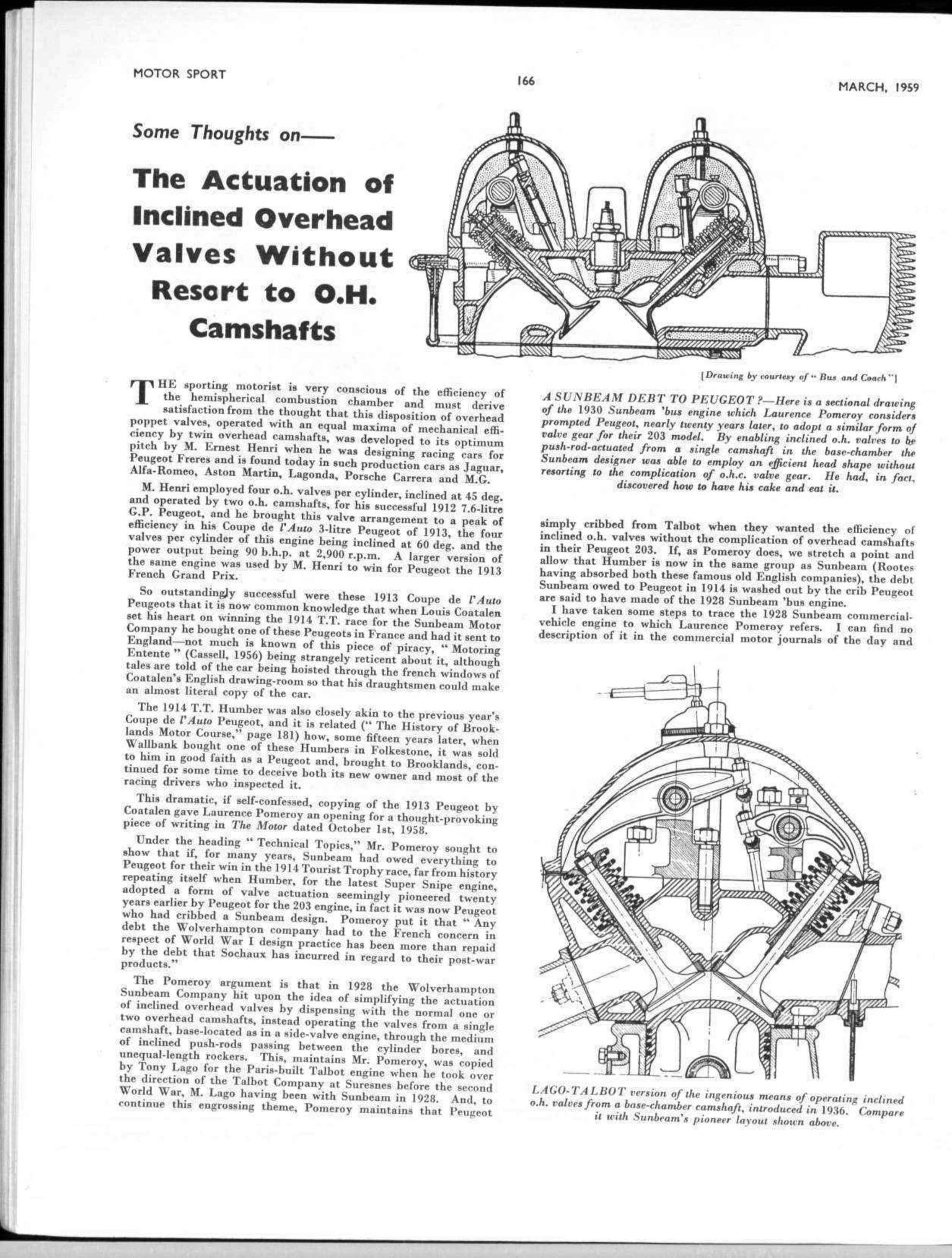 Some Thoughts On The Actuation Of Inclined Overhead Valves Without Double Cam Engine Diagram Resort To Oh Camshafts Motor Sport Magazine Archive