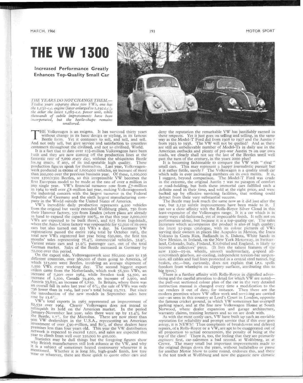 The VW 1300 | Motor Sport Magazine Archive