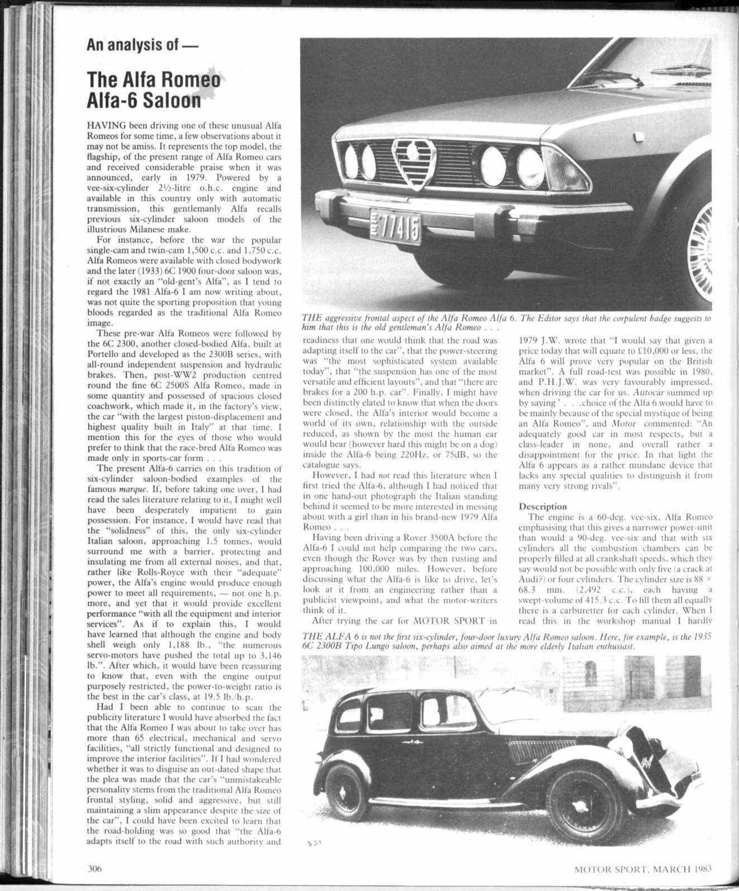An Analysis Of The Alfa Romeo 6 Saloon Motor Sport Magazine Timing Gear Archive