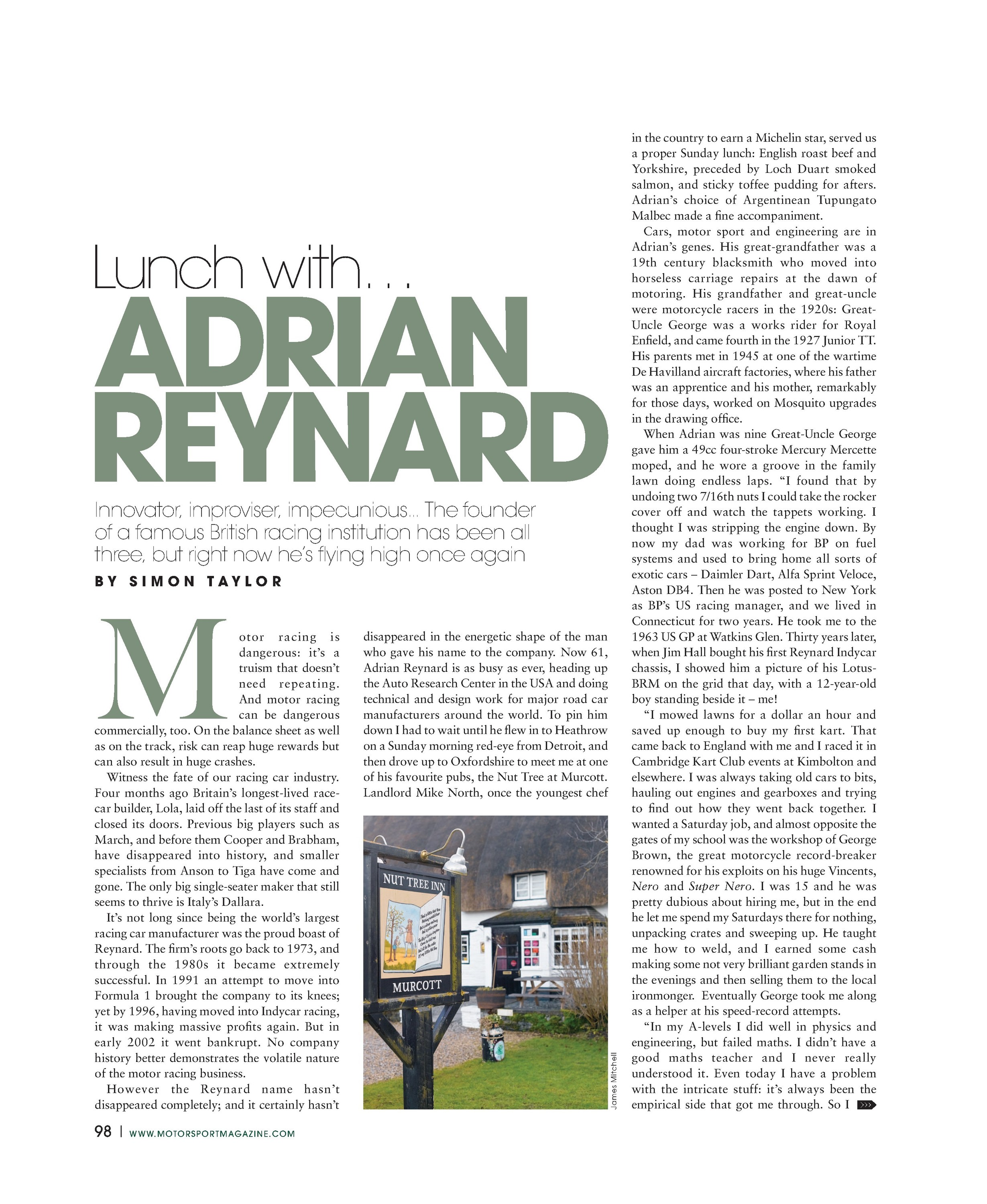 Lunch with... Adrian Reynard image