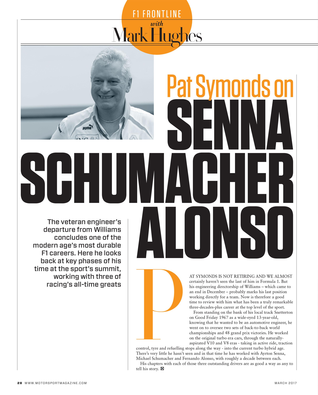 Pat Symonds on Senna, Schumacher, Alonso image