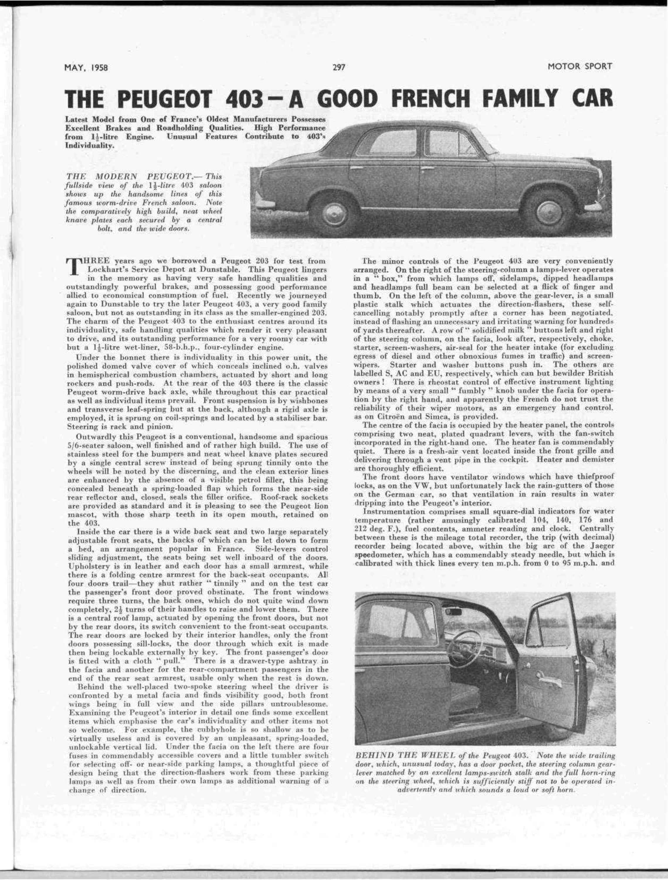 The Peugeot 403 – A good French family car