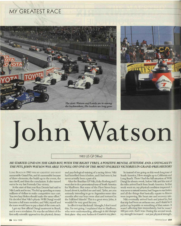 My greatest race   John Watson image