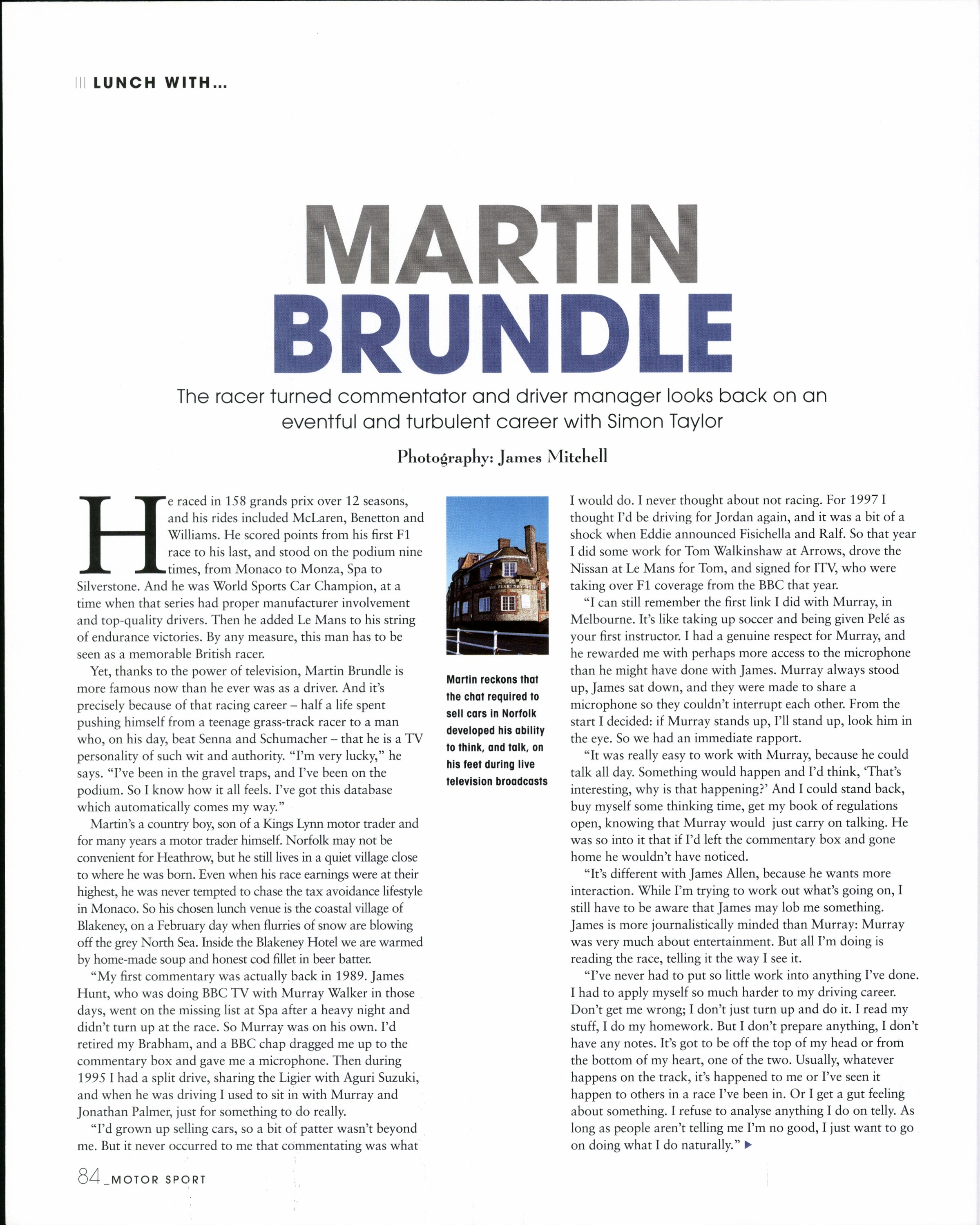 Lunch with... Martin Brundle image