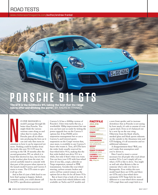 Porsche 911 GTS   Motor Sport Magazine Archive