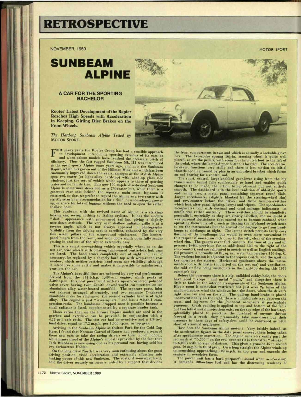 Retrospective: Sunbeam Alpine   Motor Sport Magazine Archive
