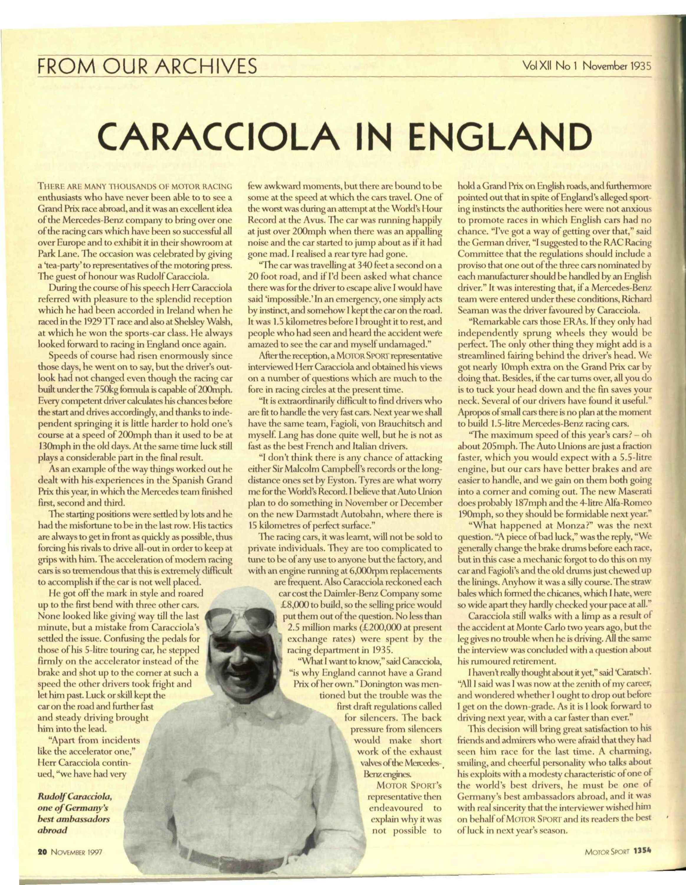 From our Archives   Caracciola in England image