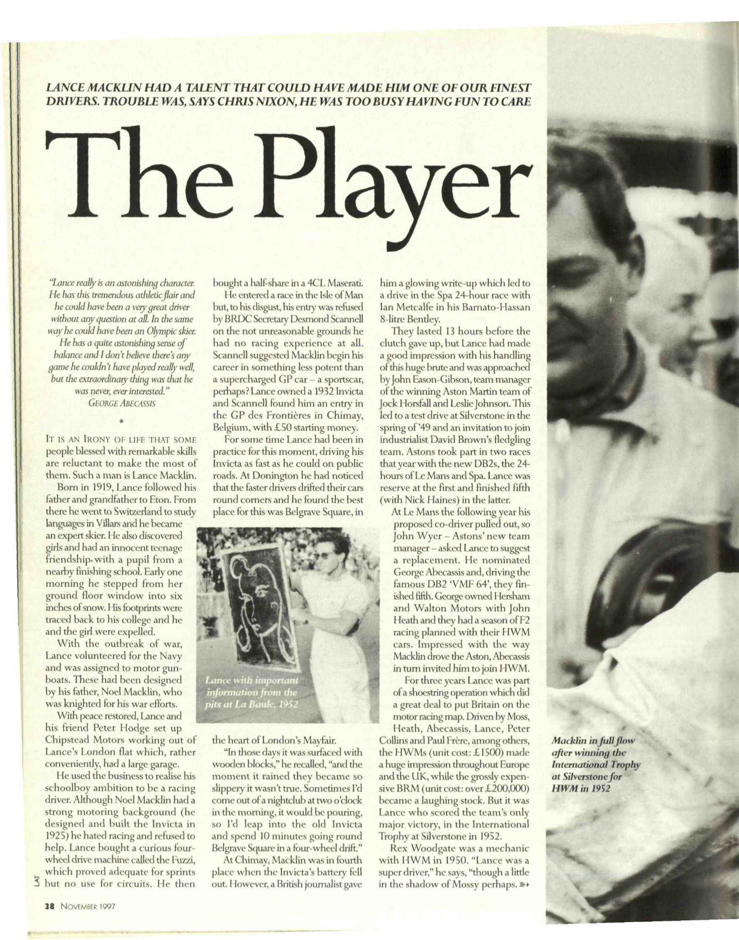 The player | Motor Sport Magazine Archive