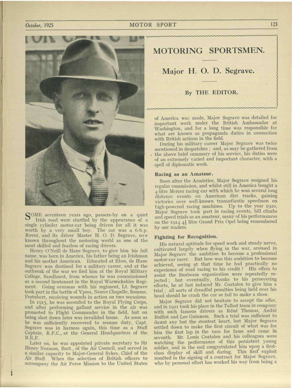 Motoring sportsmen: Major H. O. D. Segrave image